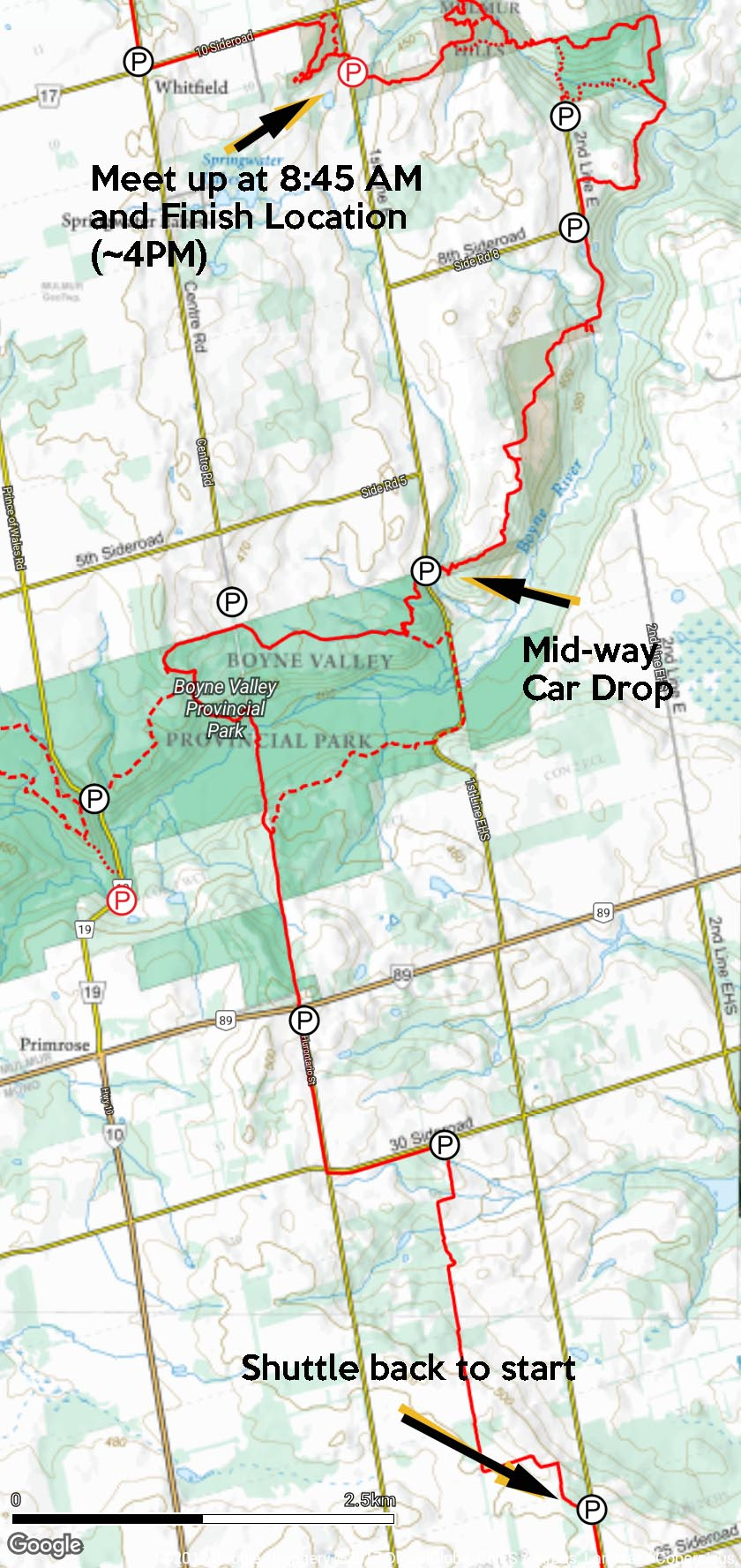 2017-10-21 Dufferin Hike #2 (1st Line EHS to Mulmer Hills) Oct2017Hike