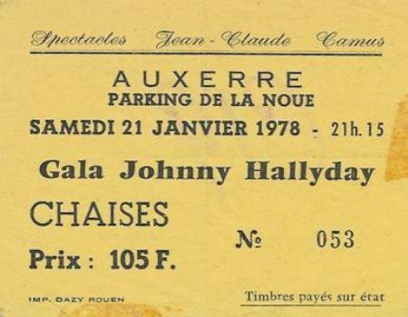 LES CONCERTS DE JOHNNY 'AUXERRE 1978' 19780121auxerre