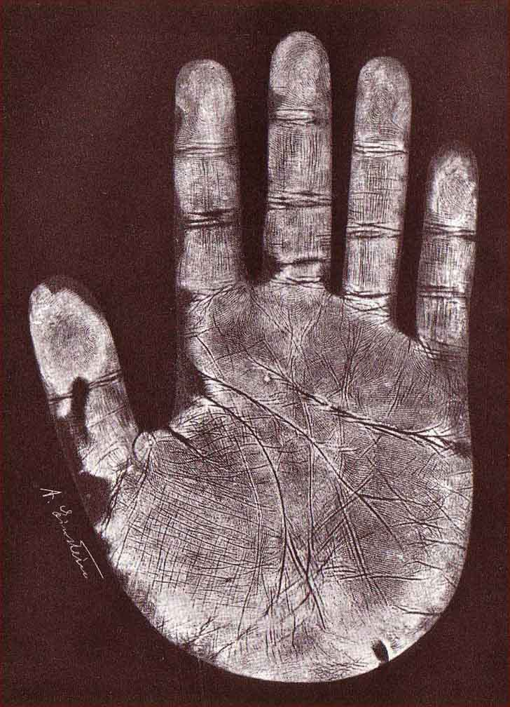 The hands of Albert Einstein - person of the 20th century Albert-einstein-right-handprint