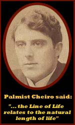 cheiro - The hand of Cheiro - most famous palmist of all times! (+ his short life line theory) Cheiro-line-of-life-length-of-life