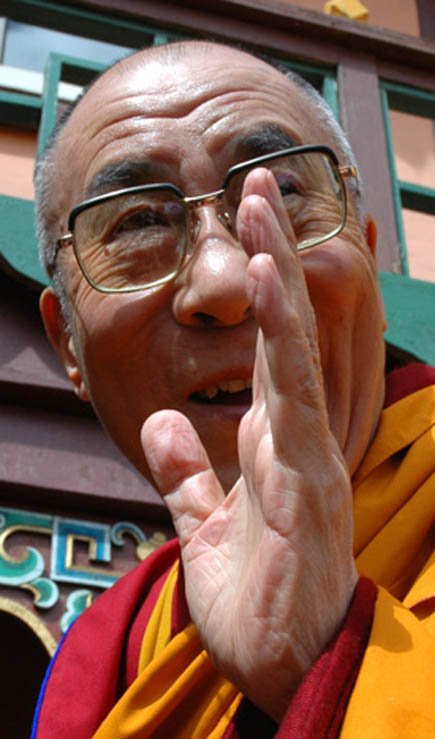 Tenzin Gyatso, a.k.a. the 14th Dalai Lama - spiritual leader of Tibet Dalai-lama-left-hand-thumb