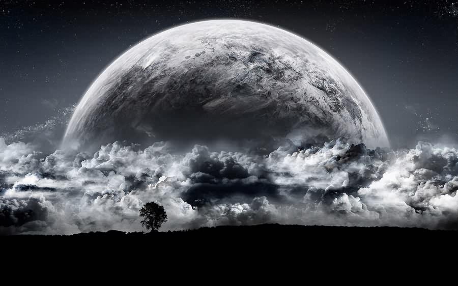 خلفيات ثري دي Full_Moon_Space_Art