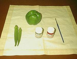 الرسم على القماش بالخضروات الفلفل والبامية 63989