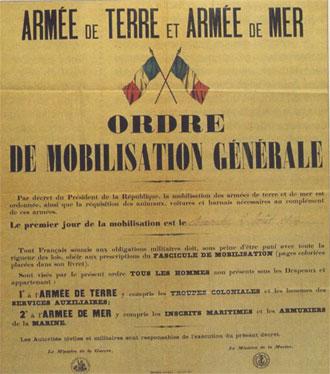 EN BREF :  1914-1918 - La Grande Guerre ou Première Guerre mondiale par André Larané Mobilisation1914