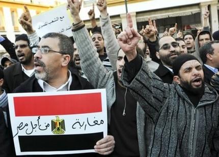 مظاهرة ثانية لمغاربة متضامنين مع غضب المصريين Magharebaegy