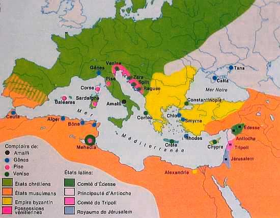 Les grands pèlerinages chrétiens à partir de l`Angleterre au Moyen-Âge - Canterbury -Terre-Sainte - Rome - Compostelle Carte2