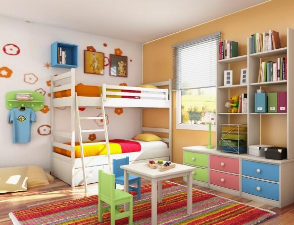 غرف نوم أطفال متنوعة Kids-room-design1-582x447