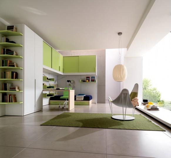ديكوآرآت جميله Kids-room-green-582x538