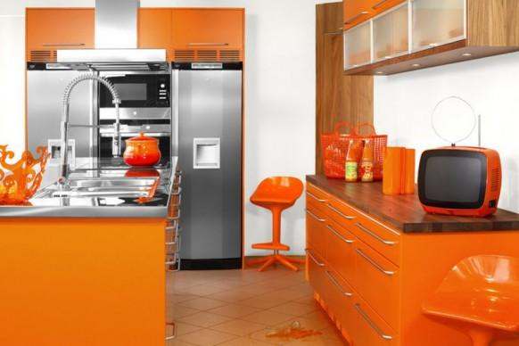 فخامة وروعة الأثاث ولا في الأحلام Modular-orange-kitchen1-582x388