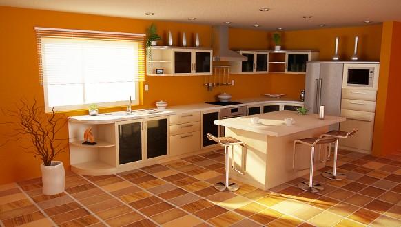 فخامة وروعة الأثاث ولا في الأحلام Orange-themed-kitchen-582x330