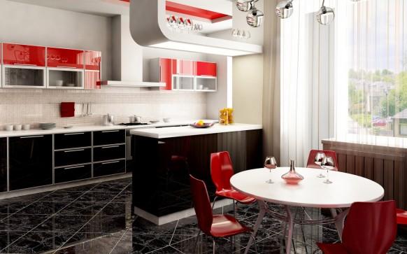 فخامة وروعة الأثاث ولا في الأحلام Red-kitchen2-582x363