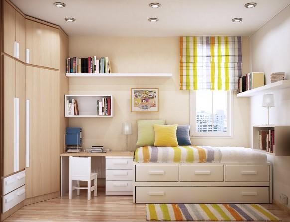 مجموعة ديكورات لغرف الاطفال ذات المساحات الصغيرة Bright-and-cheerful-room-582x447