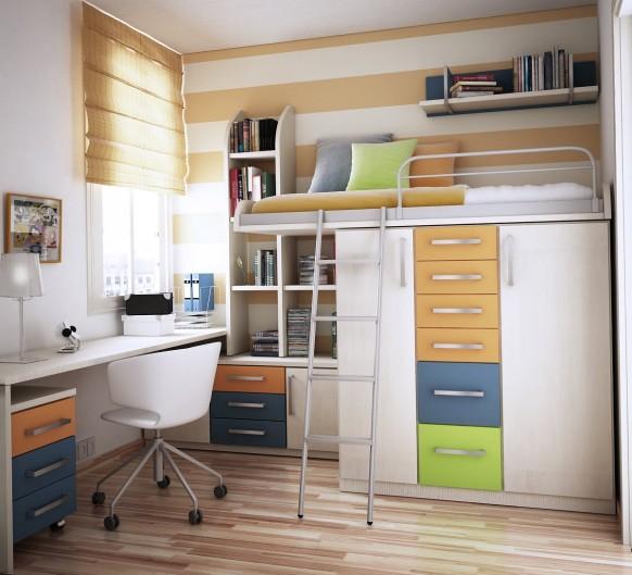 مجموعة ديكورات لغرف الاطفال ذات المساحات الصغيرة Bunk-bed-storage-582x529