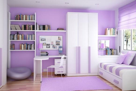 مجموعة ديكورات لغرف الاطفال ذات المساحات الصغيرة Color-coordinated-compact-room-582x388