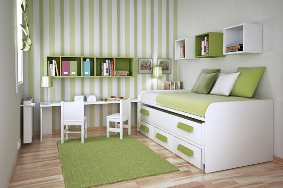 مجموعة ديكورات لغرف الاطفال ذات المساحات الصغيرة Green-room-582x388