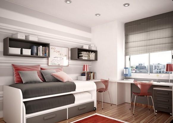 مجموعة ديكورات لغرف الاطفال ذات المساحات الصغيرة Kids-room-bunk-beds-582x415