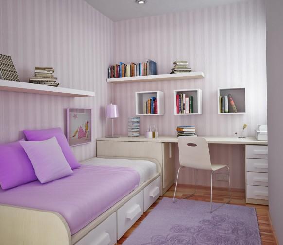 مجموعة ديكورات لغرف الاطفال ذات المساحات الصغيرة Lilac-room-582x505