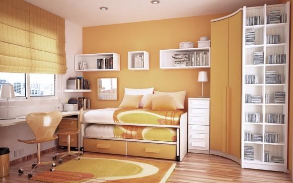 مجموعة ديكورات لغرف الاطفال ذات المساحات الصغيرة Orange-and-white-room-582x364