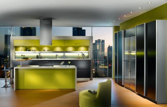 فخامة وروعة الأثاث ولا في الأحلام Green-apartment-kitchen-582x375