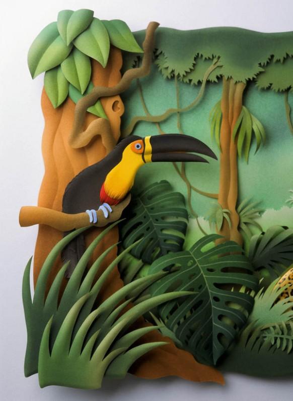 كارلون ميرا الفنان البرازيلى المتميز Bird-in-the-woods-582x795