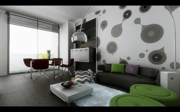اجمل الدهانات للمنزل Cozy-Modern-Living-Room-Arc-Lamp-582x363