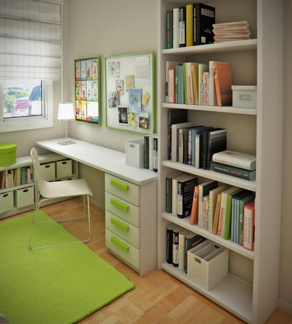 مجموعة ديكورات لغرف الاطفال ذات المساحات الصغيرة Childs-study-582x646