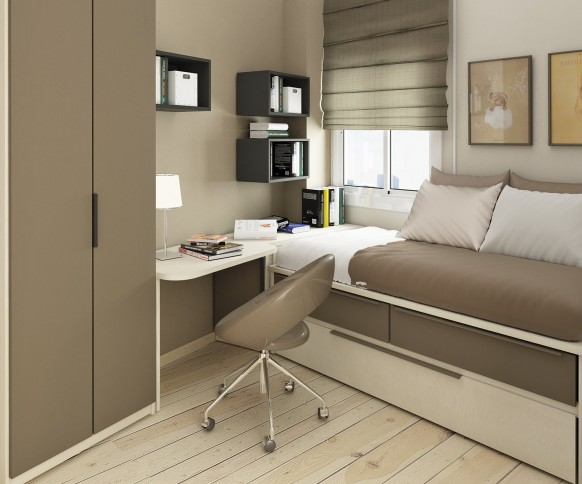 مجموعة ديكورات لغرف الاطفال ذات المساحات الصغيرة Cozy-small-kids-room-582x484