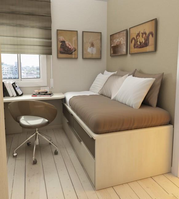 مجموعة ديكورات لغرف الاطفال ذات المساحات الصغيرة Cute-stylish-childrens-room-582x647