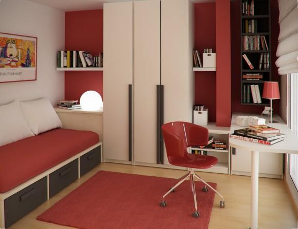 مجموعة ديكورات لغرف الاطفال ذات المساحات الصغيرة Kids-study-room1-582x447