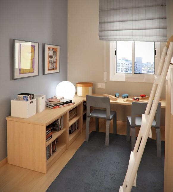 مجموعة ديكورات لغرف الاطفال ذات المساحات الصغيرة Tiny-childrens-room-582x646