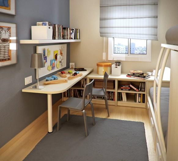 مجموعة ديكورات لغرف الاطفال ذات المساحات الصغيرة Tiny-tots-room-582x528