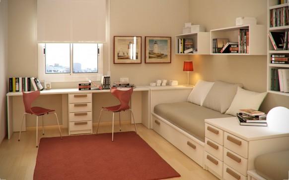مجموعة ديكورات لغرف الاطفال ذات المساحات الصغيرة Twin-kids-study-room-582x364