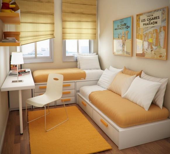 مجموعة ديكورات لغرف الاطفال ذات المساحات الصغيرة Yellow-kids-room-582x528