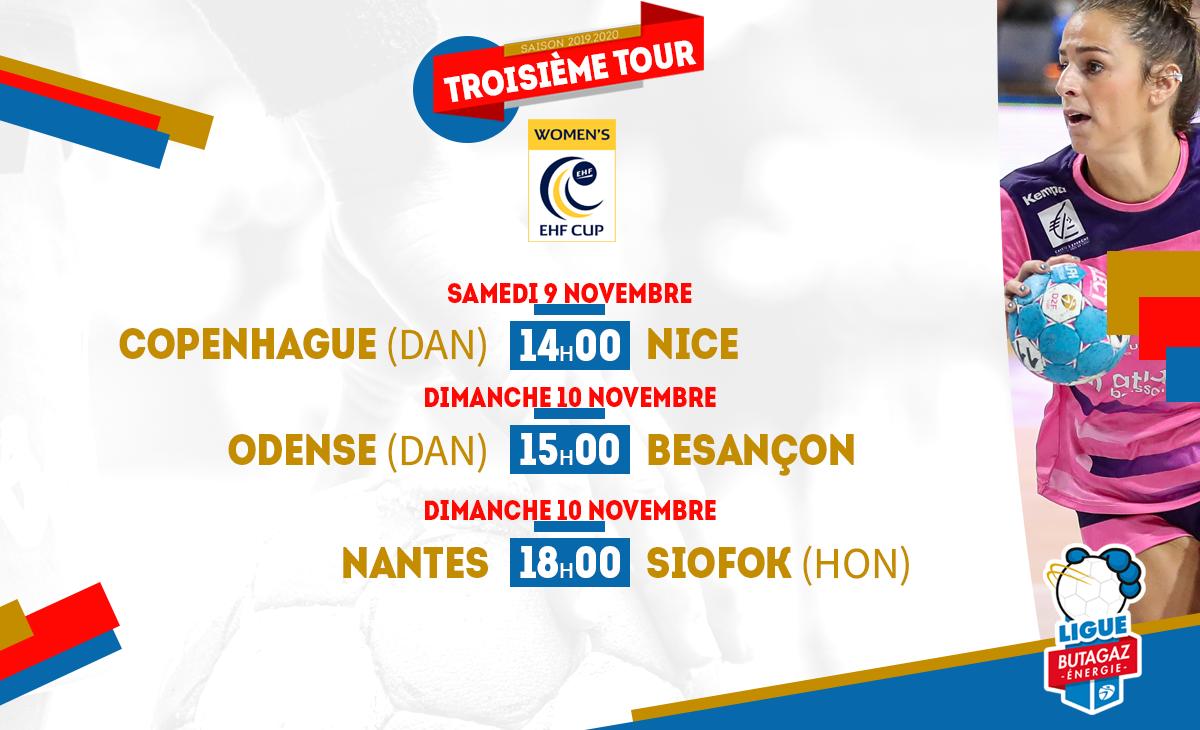 Coupes d'Europe de Handball féminin : cinq clubs français à suivre ce week-end PROGRAMME-EHFCUP-3eTOUR