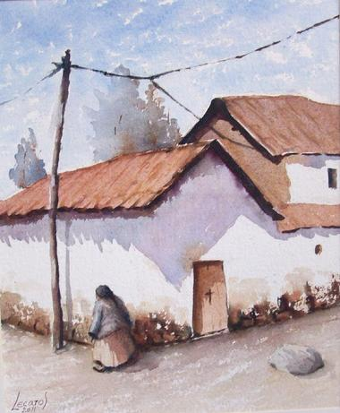 الفنان التشكيلي البيروفي Hugo Lecaros 380_Lecaros_-_Dona_Remigia_24x27