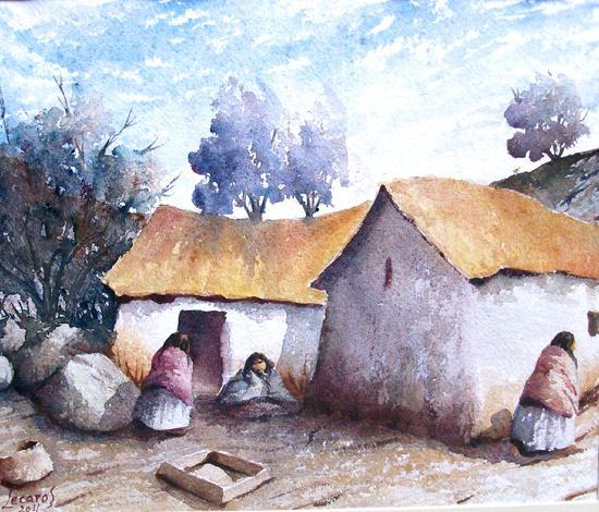 الفنان التشكيلي البيروفي Hugo Lecaros 550_Lecaros_-_Mamachas_Cusco_24x27