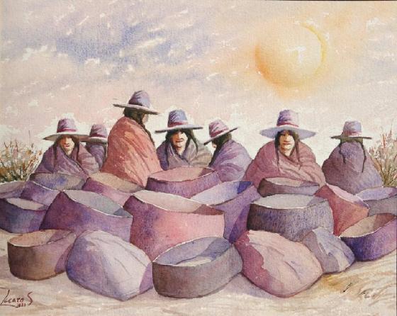 الفنان التشكيلي البيروفي Hugo Lecaros 560_Hugo_s_Watercolor_Las_olleras_28x32