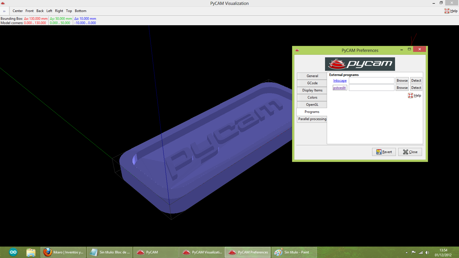 Construir una fresadora CNC Pycam_program_select