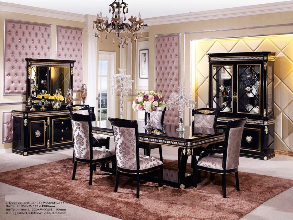 طاولات طعام Traditional-dining-table-black-wood-gold-scarlett-b-1024x768