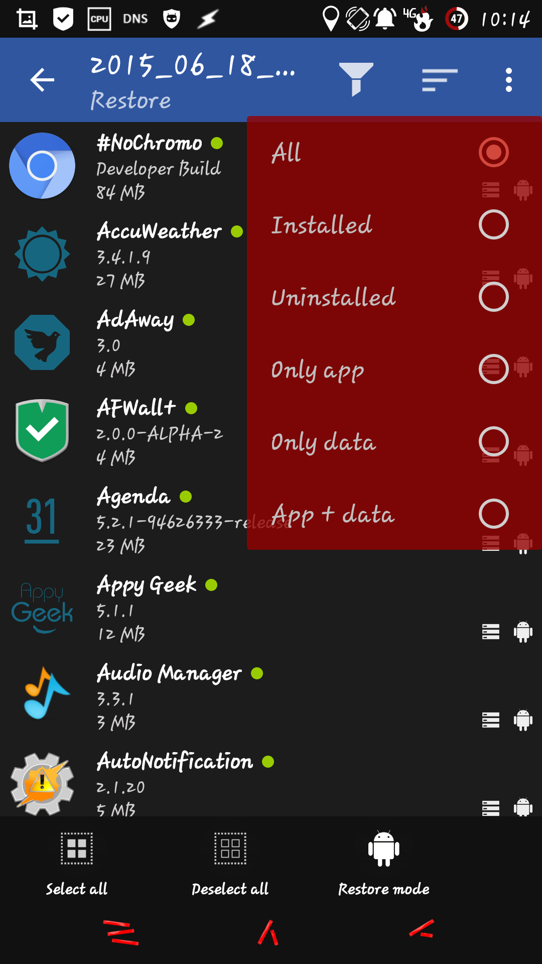 [APPLICATION ANDROID - Backup+] Sauvegarde d'applications (Comme Titanium backup) 14347245762514