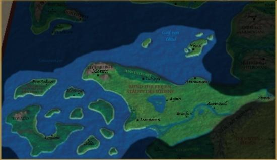 Karte des Bunds der Freien Städte des Südens