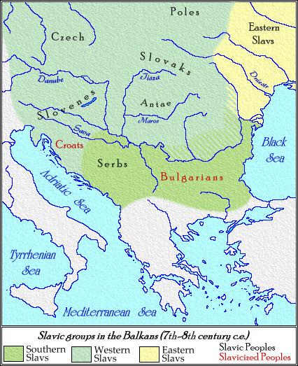 slavların avrupaya yayılışını gösteren bir harita BalkanSlavs