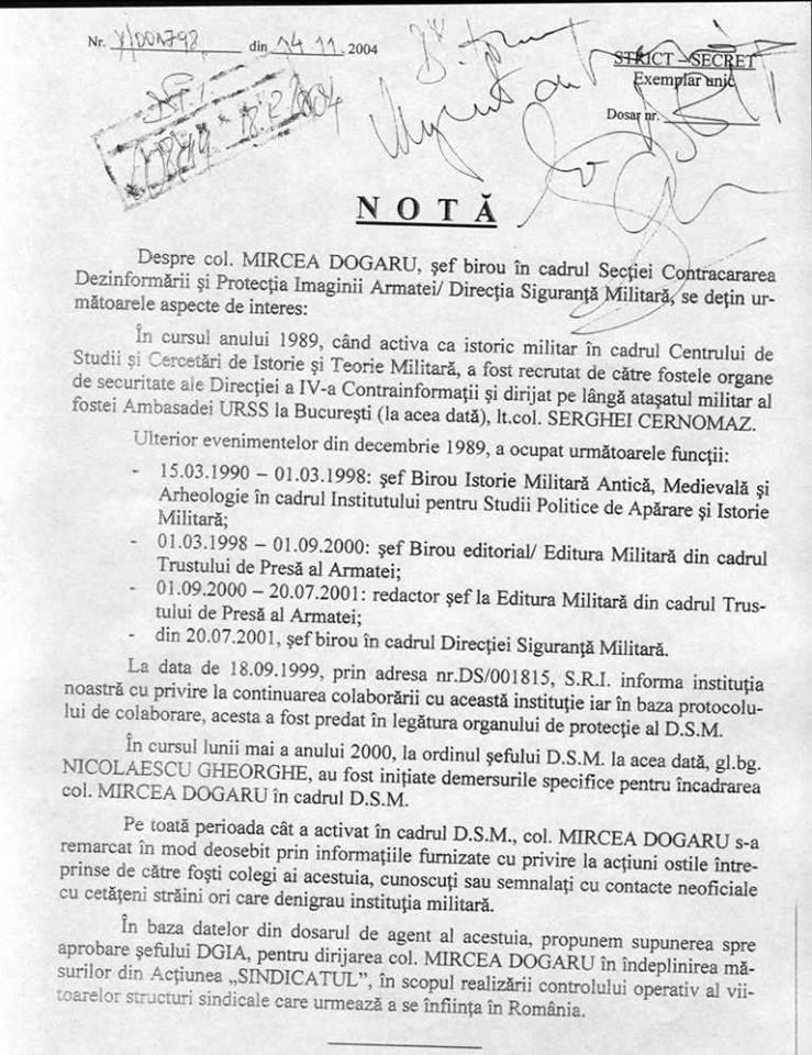 Apel către preşedinte ( SA II CREASCA-N CUR UN DINTE) Nota-Dogaru