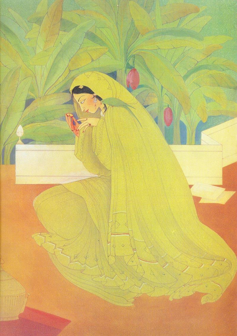 Indijska umetnost Chughtai_Hiraman_Tota