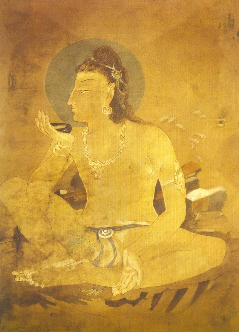 Indijska umetnost N_Bose_Siva_drinks_Poison