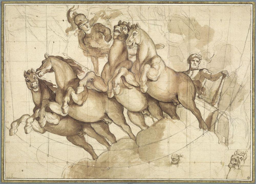 Expo. dessins pour les plafonds parisiens du Grand Siècle LeBrun_Apotheose_Hercule_louvre