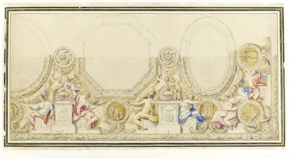 Expo. dessins pour les plafonds parisiens du Grand Siècle Romanelli_Projet_Plafond_louvre