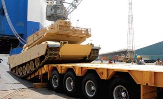 General Dynamics Wins $92m Iraq Contract M1A1-Abrams-tank-being-delivered-at-Umm-Qasr-Aug2010-623x379