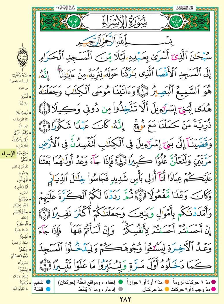 تفسير سورة الإسراء صفحة 282 من القرآن الكريم للشيخ الشعراوي