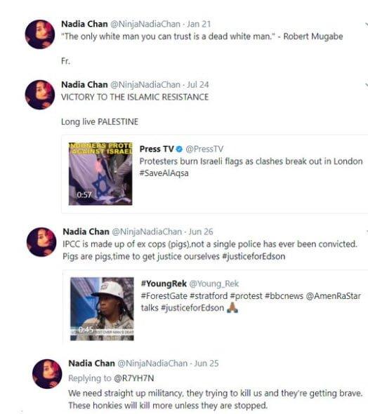 Britain's Channel 4 Chooses Islamic Racist & Antisemite As Female Muslim Role Model Nadia-chan-israel-1